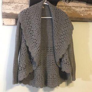 Grey knit Shawl sweater